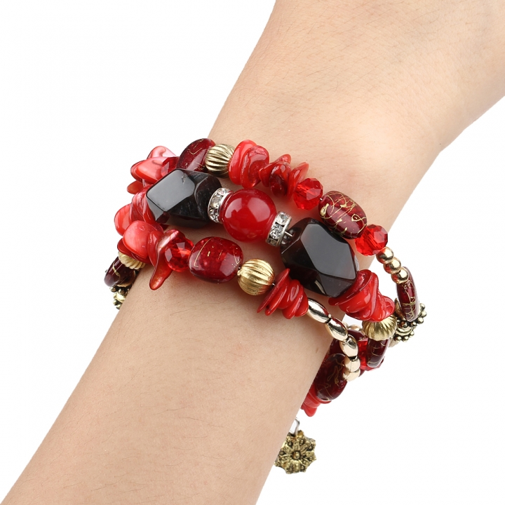 New Fashion Retro Colorful Artificial Gems Female Multilayer Bracelet Summer Dress Jewelry Red 21cm