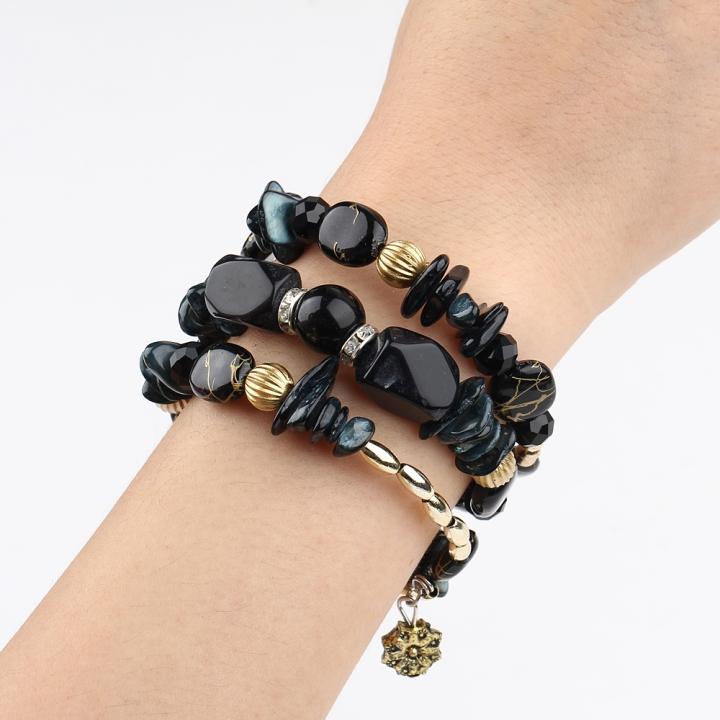 New Fashion Retro Colorful Artificial Gems Female Multilayer Bracelet Summer Dress Jewelry Black 21cm