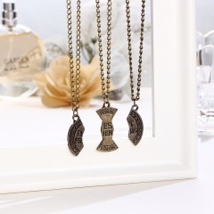 New Round Pendant Necklace Pieces Broken Three Best Forever Friend Women Necklace Jewelry As picture 10cm