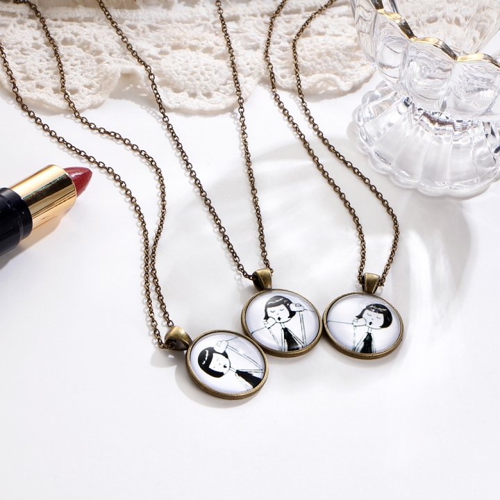 3 Pcs/set Fashion Vintage Little Girl Necklace Creative Alloy Pendant Necklace Jewelry for Women as picture 46CM+4CM