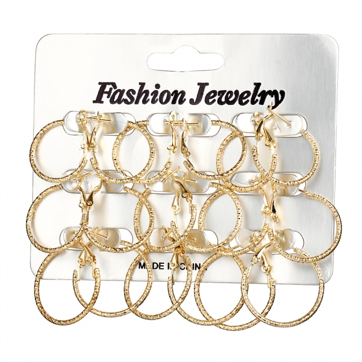 9PC/Set Fashion Women Carved Stainless Steel Full Circle Hoop Earrings Retro Earrings Set gold 2CM-2.5CM