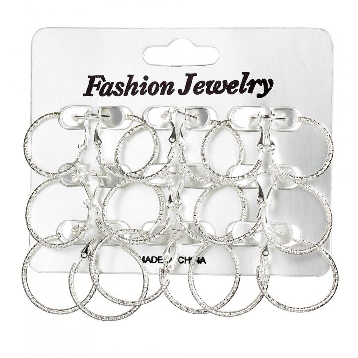 9PC/Set Fashion Women Carved Stainless Steel Full Circle Hoop Earrings Retro Earrings Set silver 2CM-2.5CM