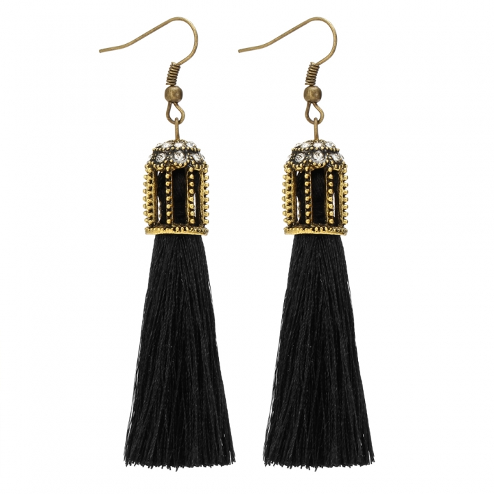 Bohemian Vintage Accessories Long Drop Tassel Metal Hollow Earrings for Women black 9cm