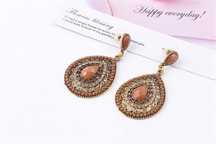 New Ethnic Jewelry Alloy Earring Full Rhinestone Large Water Drop Bohemia Dangle Earrings coffee no size
