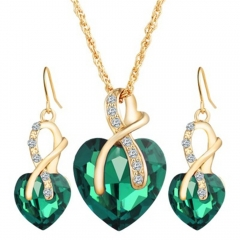 New Heart Crystal Jewelry Sets Necklace Earrings Jewelery Set New Bridal Wedding Accessories green 21-50cm