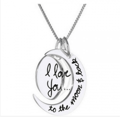 1 Piece/Set New i love you to the moon and back Alloy Necklaces Pendant Women Men Jewellery Gift silver perimeter:46cm