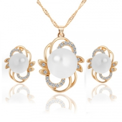 Trendy Jewelry Sets Wedding Earrings Simulated Pearl Jewelry Set Women Necklace Set gold 42cm+6cm