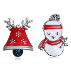 Fashion Christmas Dripping Christmas Snowman Bells Stud Earrings for Women Girls Jewelry Gifts platinum 2 x 1.4cm;1.7x1.3cm