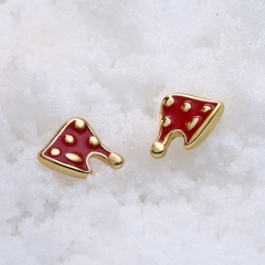 Christmas Style Snowman Red Cap Earrings for Women Ear Nails New Year Jewelry Gifts gold plated 0.6x0.7 cm
