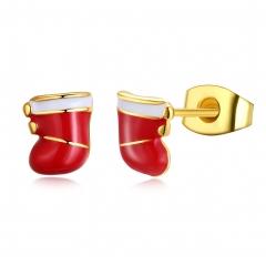 New Christmas Jewelry Drip Christmas Sock Shape Earrings Women's Earrings gold plated 0.6x0.7 cm