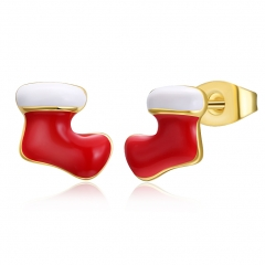 Women Earring Red Christmas Socks Merry Christmas Gift Ear Cuff Jewellery gold plated 0.8x0.9cm