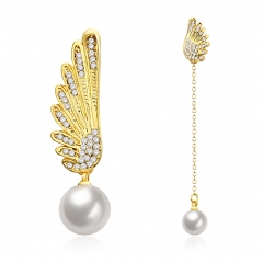 Christmas Gift Jewelry Charm Drip Oil Angel Wings Pearl Drop Earrings for Women Girls gold plated 8. 6x 1cm;4.2x1cm