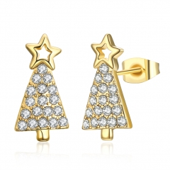 New Cute Christmas Tree Shape Christmas Gifts White Zircon Earring Jewelry gold plated 1.8x0.9cm