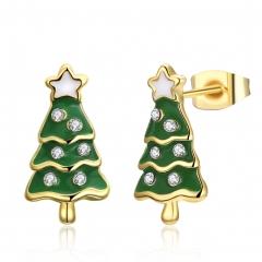 Trendy Christmas Tree Gifts Enamel Zircon Stud Earrings for Women Girls Christmas Jewelry gold plated 1.6x0.8cm