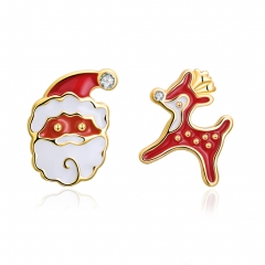 Christmas Lovely Santa Claus Deer Ear Stud Earrings Earings Fashion Jewelry Accessories gold plated 1.5*1.2cm;1.4*0.9cm