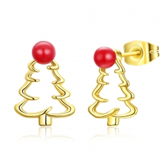 New Cute Christmas Tree Shape Christmas Gifts Earring Jewelry for Women gold plated 1.3x1cm
