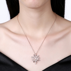 Christmas Snowflake Zircon Pendant Necklace for Women Fashion Jewelry Holiday Accessories rose gold plated 45cm+5cm