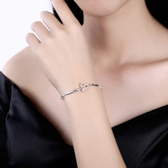 12 constellation Leo Fashion Trend Bracelet 925 Sterling Silver Bracelet for Christmas Gifts platinum 26cm