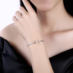 12 Constellation 925 Sterling Silver Bracelet Gemini Fashion Trend Bracelet for Christmas Gifts platinum 26cm