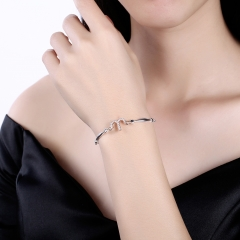 925 Sterling Silver 12 Constellation Bracelet Aries Fashion Trend Bracelets platinum 26cm
