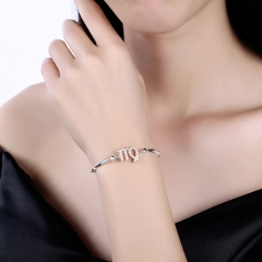 925 Sterling Silver 12 Constellation Bracelet Virgo Fashion Trend Bracelets platinum 26cm