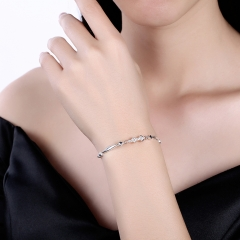 925 Sterling Silver 12 Constellation Bracelet Sagittarius Fashion Trend Bracelets platinum 26cm