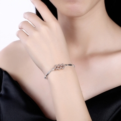 925 Sterling Silver 12 Constellation Bracelet Aquarius Fashion Trend Bracelets platinum 26cm