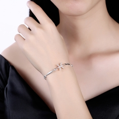 925 Sterling Silver 12 Constellation Bracelet Pisces Fashion Trend Bracelets platinum 26cm