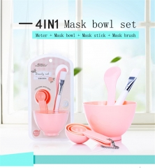 4 in 1 Women Face Skin Care Mask Mixing Bowl Stick Brush Pink Cosmetic Tool Set random color