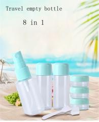 8PCS Portable Travel Mini Transparent Plastic Empty Makeup Container Bottle random color