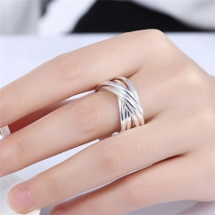 8 inches Nine Rings Multilayer Design Women Copper Ring Fashion Jewelry silver Size 8