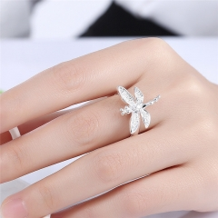 Women Classic Copper Ring Fashion Jewelry Inlaid Dragonfly Classic Ring for Party silver Size 6