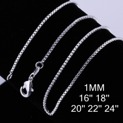 Fashion Women Necklaces Simple Silver Plated Snake Chain Necklace Jewelry For Unisex Men Jewelry silver 16 inches