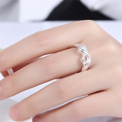 Women Fashion Infinity Rings Jewelry Silver Plated Finger Rings Silver Bowknot Ring Wedding Ring silver size 6