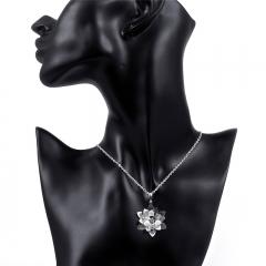 Women Elegant Lotus Necklaces Pendants Flower Short Necklace Jewelry Accessories silver 45CM