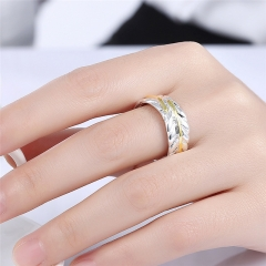 Silver Plated Ring Fashion Color Separation Feather Jewelry Ring Women Finger Rings as picture adjustable
