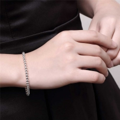 4M Buddha Beads Bracelet Hollow Ball Silver Plated Bracelet Chopin Chain Noble Round Beads Bracelets silver Chain length: 8 inch
