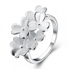 Women Hawallan Fancy Flower Ring Creative Frosted Lady Ring Plumeria Flower Ring Size 7,8 silver size 7