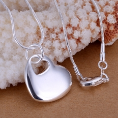 Fashion Jewelry Silver Plated Heart Center Heart Silver Jewelry Necklace Without Chain silver 2.6*1.9CM