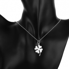 Romantic Silver Plated Four Leaf Clover Lucky Pendant Long Necklace Without Chain silver 3.2*1.8cm