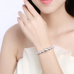 Silver Plated Bracelet Jewelry Charm Silver Ball Popcorn Bracelet Hollow Beads Bracelet silver 21cm
