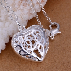 Silver Plated Heart-shaped Pendant Necklace Jewelry for Woman Valentine's Day Gift Whitout Chain silver 2.9x2.2cm