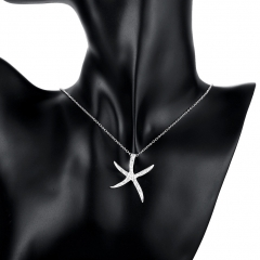 Silver Plated Pendant Jewelry Crystal Starfish Pendants Necklace for Women Men Whitout Chain silver 2.9x3.1 cm