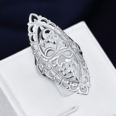 Fashion Silver-plated Ring Women & Men Gift Classical Creative Carved Silver Finger Rings Jewelry silver size 6