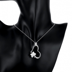 Silver Plated Pendant Fashion Silver Jewelry Butterfly Heart Pendants Necklace for Women/Men silver 3.9x2.3 cm