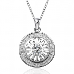 Fashion Silver Plated Round Shape Zircon Pendant Necklace Pendant Jewelry silver 18 inches