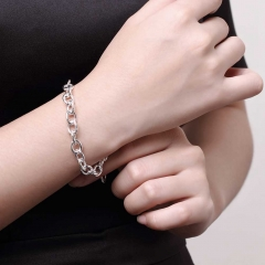 Fashion Silver Plated Bracelets & Bangle for Men Top Quality Vintage Jewelry Shrimp Buckle Coarse silver 8 inches