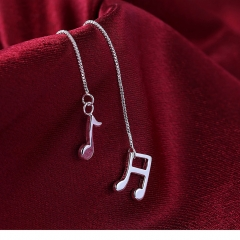 Vintage Love Silver Plated Earrings Music Note Long Earings for Women silver 11.4cm x 1.2cm