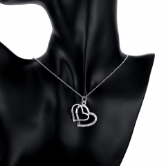 Romantic Forever Love Double Heart Inlaid Zircon Stone Necklace Pendant Jewelry without Chain silver 3.2 CM x2.9 CM