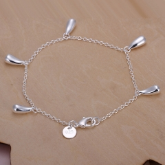 Silver Solid Color Bracelets For Women Simple Five Water Drop Fashion Women Jewelry Bracelet silver 8 inches